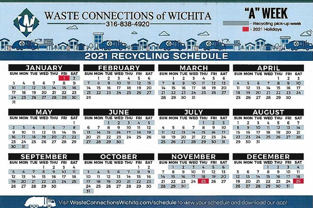 Waste Connections Recycle Calendar 2021